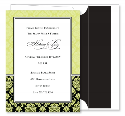 Damask Border - Lime & Black