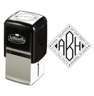 Diamond Monogram with Address Stamp