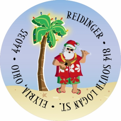Tropical Santa Label