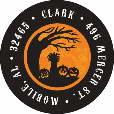 Tree and Pumpkin Silhouette Label