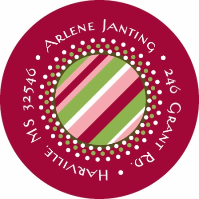 Raspberry Candy Stripe Label