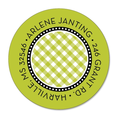Lime Gingham Label