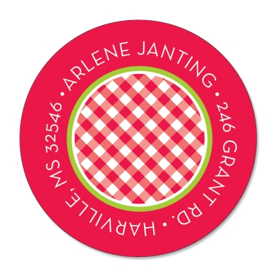 Cherry Gingham Label