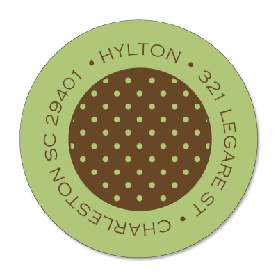 Banded Polka Dots Green & Brown Label