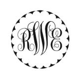 Script Monogram with Scallops for Noteworthy Stamps