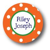 Orange and white and green dots Round Sticker by Polka Dot Pear Discounted Stationery