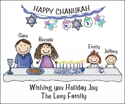 Chanukah Stickers with Personalized Family Stick Figures