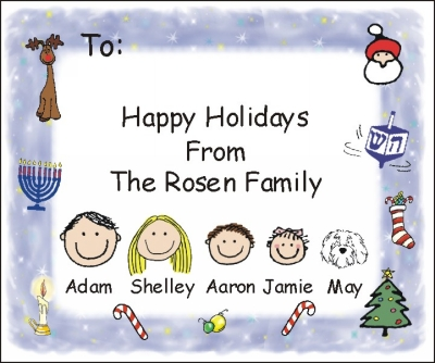 Chanukah and Christmas Mixed Personalized Stickers