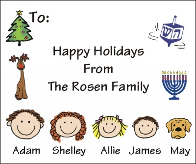 Chanukah and Christmas Mixed Personalized Stickers Design 2
