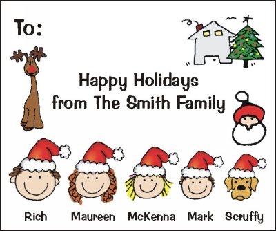 Christmas Stickers with Personalized Family Heads in Santa Hats