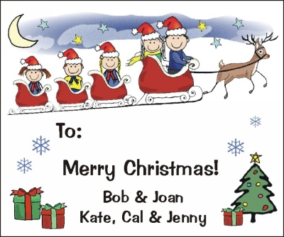 Christmas Stickers with Personalized Family in Sleigh