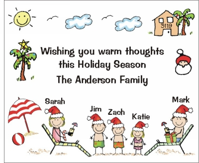 Christmas Stickers with Personalized Family at the Beach