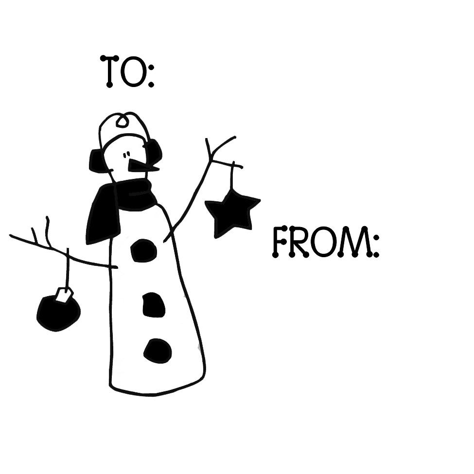 Earmuffs Snowman Gift Tag Stamp by PSA Essentials