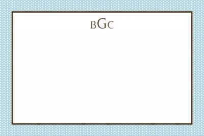 Blue Swiss Dots w/ Brown Notecard