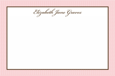 Pink Swiss Dots w/Brown Notecard