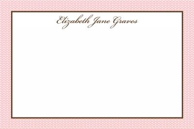 Pink Swiss Dots w/Brown Notecard
