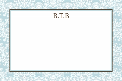 Blue Toile Notecard