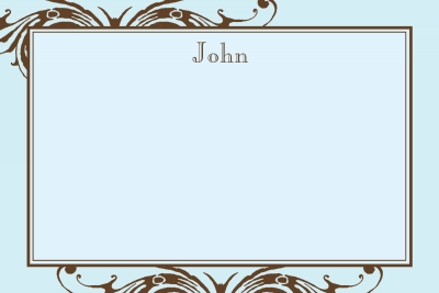 Blue w/ Brown Scroll Notecard