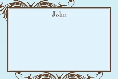 Blue w/ Brown Scroll Notecard