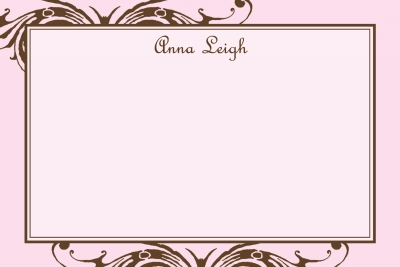 Pink w/ Brown Scroll Notecard