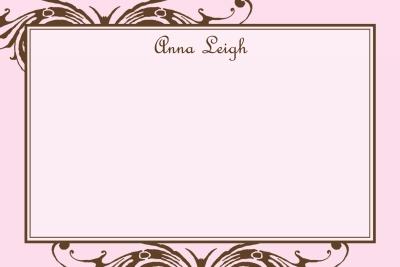 Pink w/ Brown Scroll Notecard