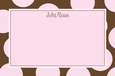 brown & pink dots Notecard