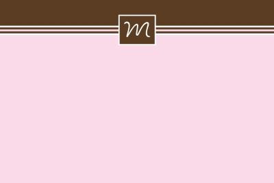 simple pink & brown Notecard