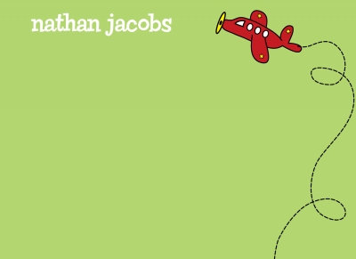 Green Note with Red Airplane Notecard
