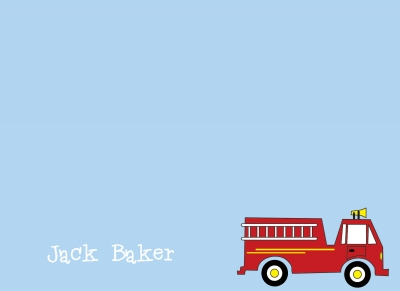 Blue with Red Firetruck Notecard