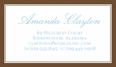 Brown and White Border Calling Card